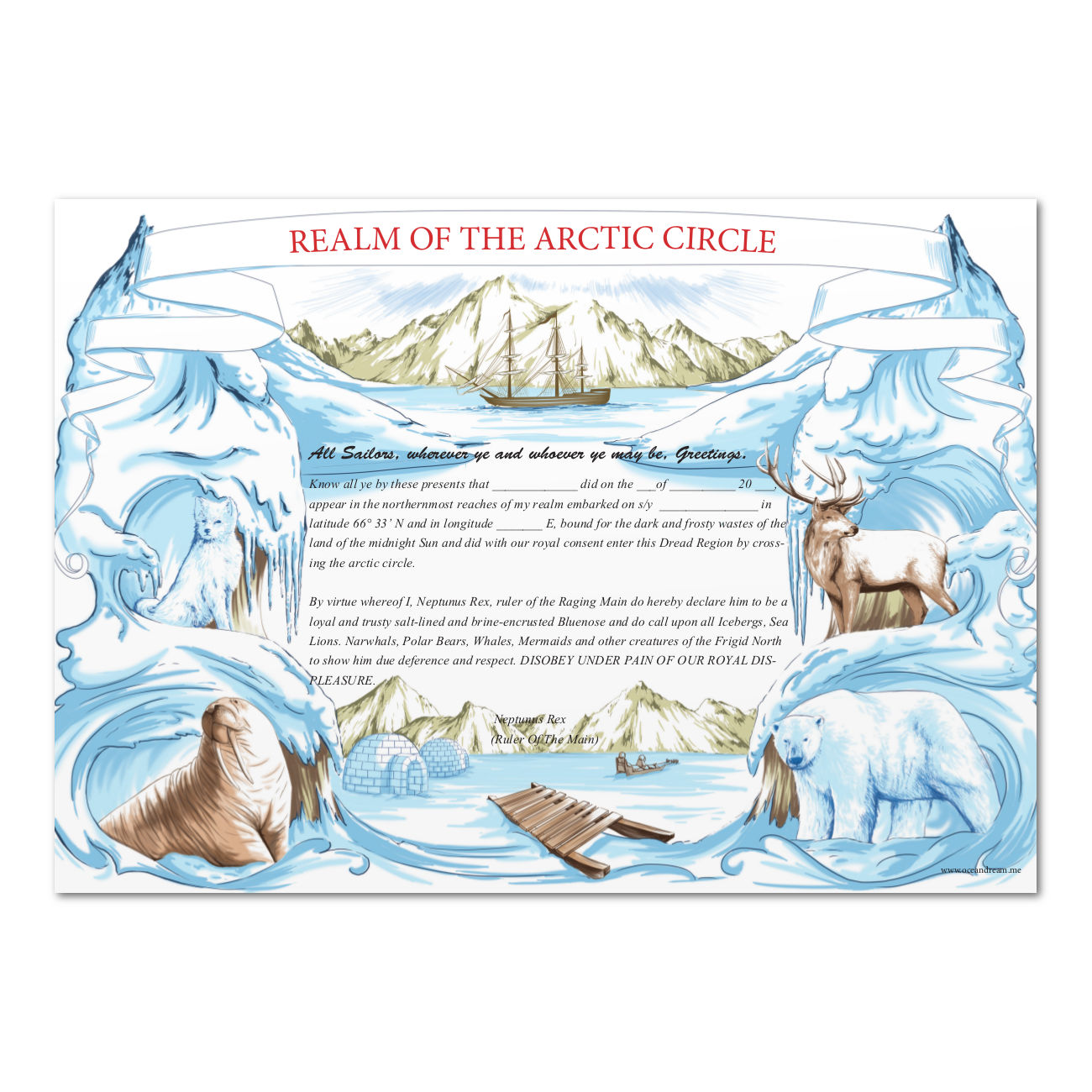 Equator certificate – Ocean Dream Within Crossing The Line Certificate Template